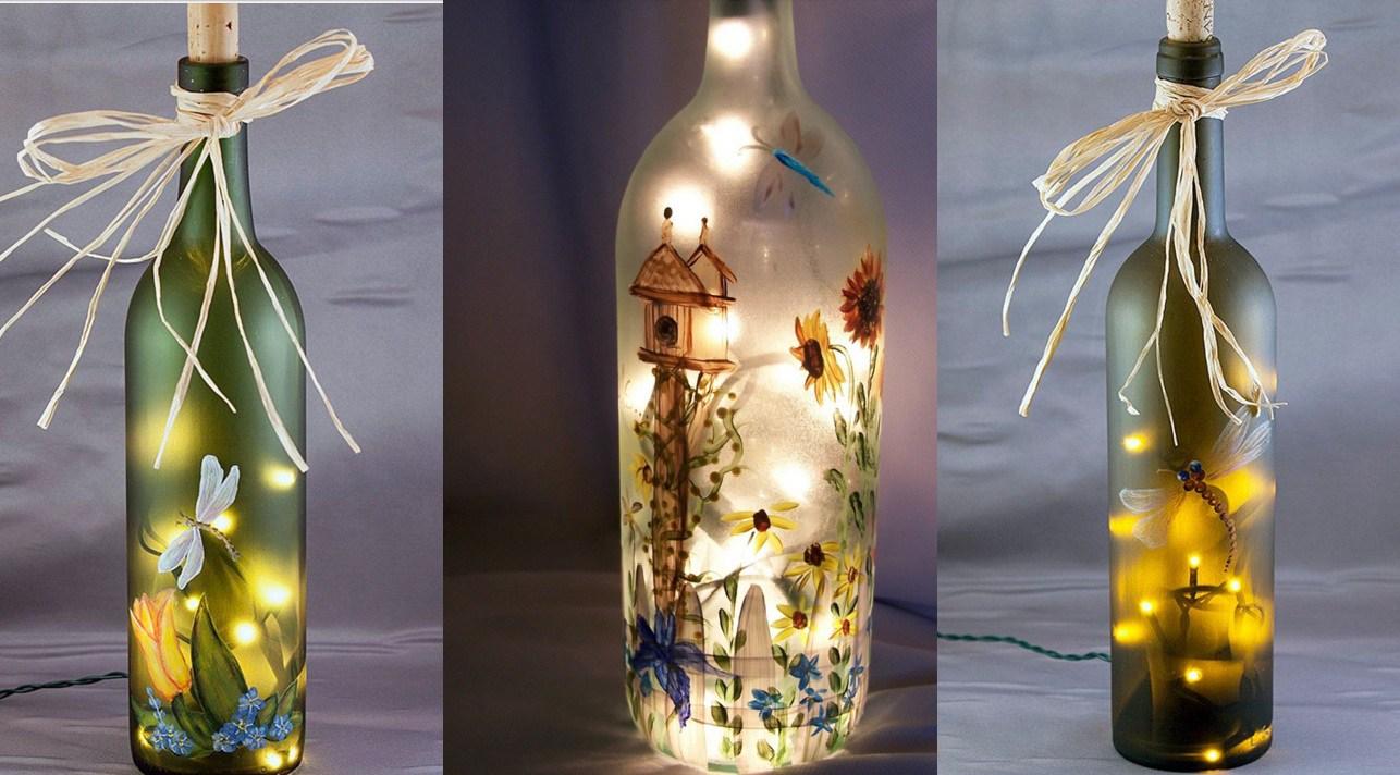 Как декорировать стеклянную бутылку своими руками