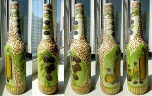 Декор бутылок с помощью бумаги
